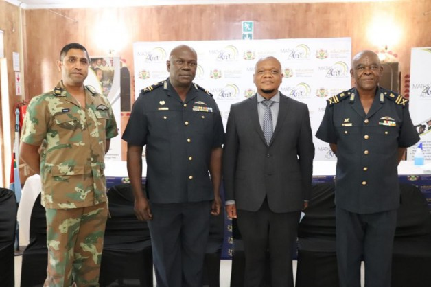 From left to right: Colonel A Naik, Officer Commanding Air Force Base Bloemspruit; Major General MI Buthelezi Acting Chief of SA Air Force, MEC for Free State Department of Education, Dr Tate Makgoe and Major General MP Sehloho Chief Air Staff Governance